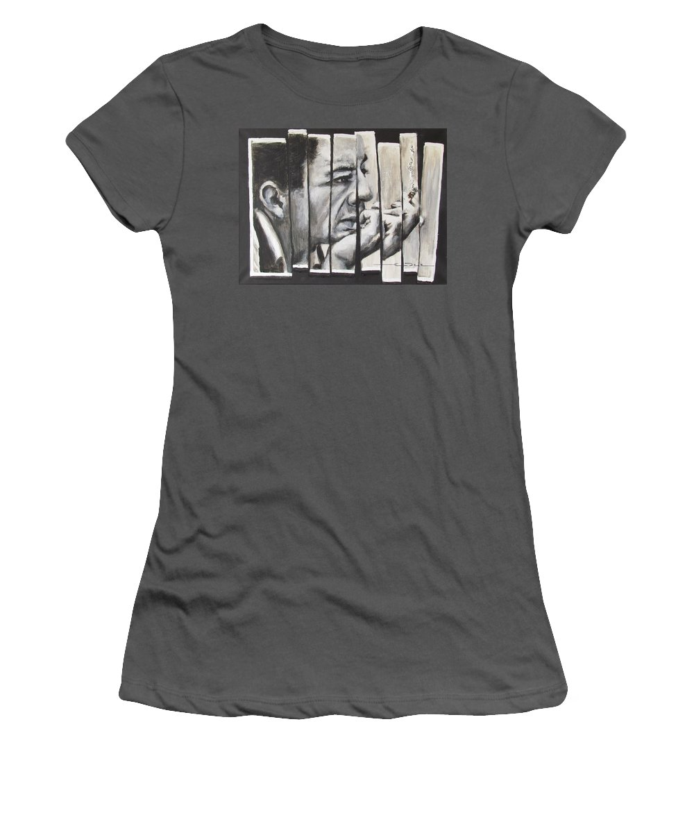Much Of Johnny Cash's Music Women's T-Shirt (Athletic Fit) featuring the painting All Together Johnny Cash by Eric Dee
