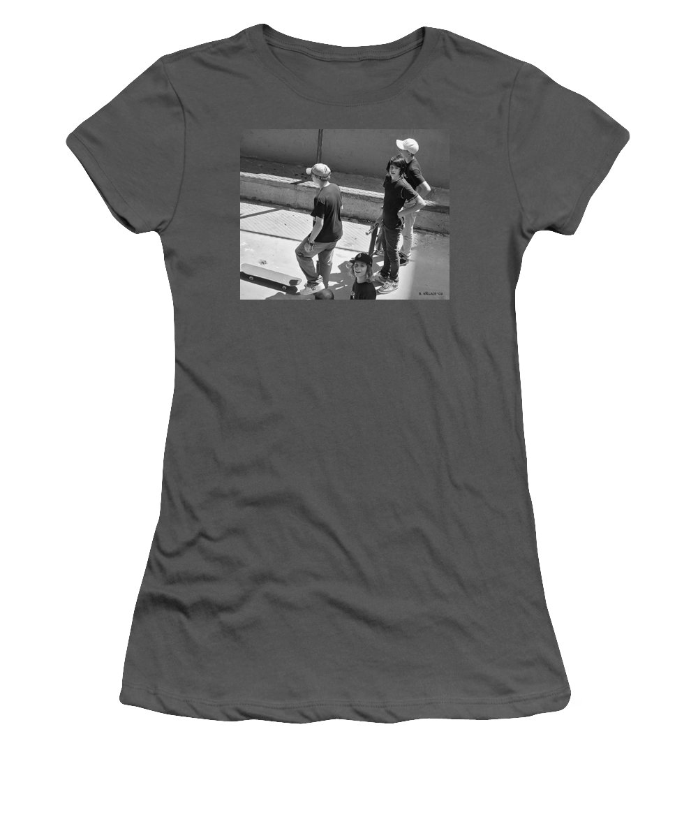 2d Women's T-Shirt (Athletic Fit) featuring the photograph Alley Cats by Brian Wallace