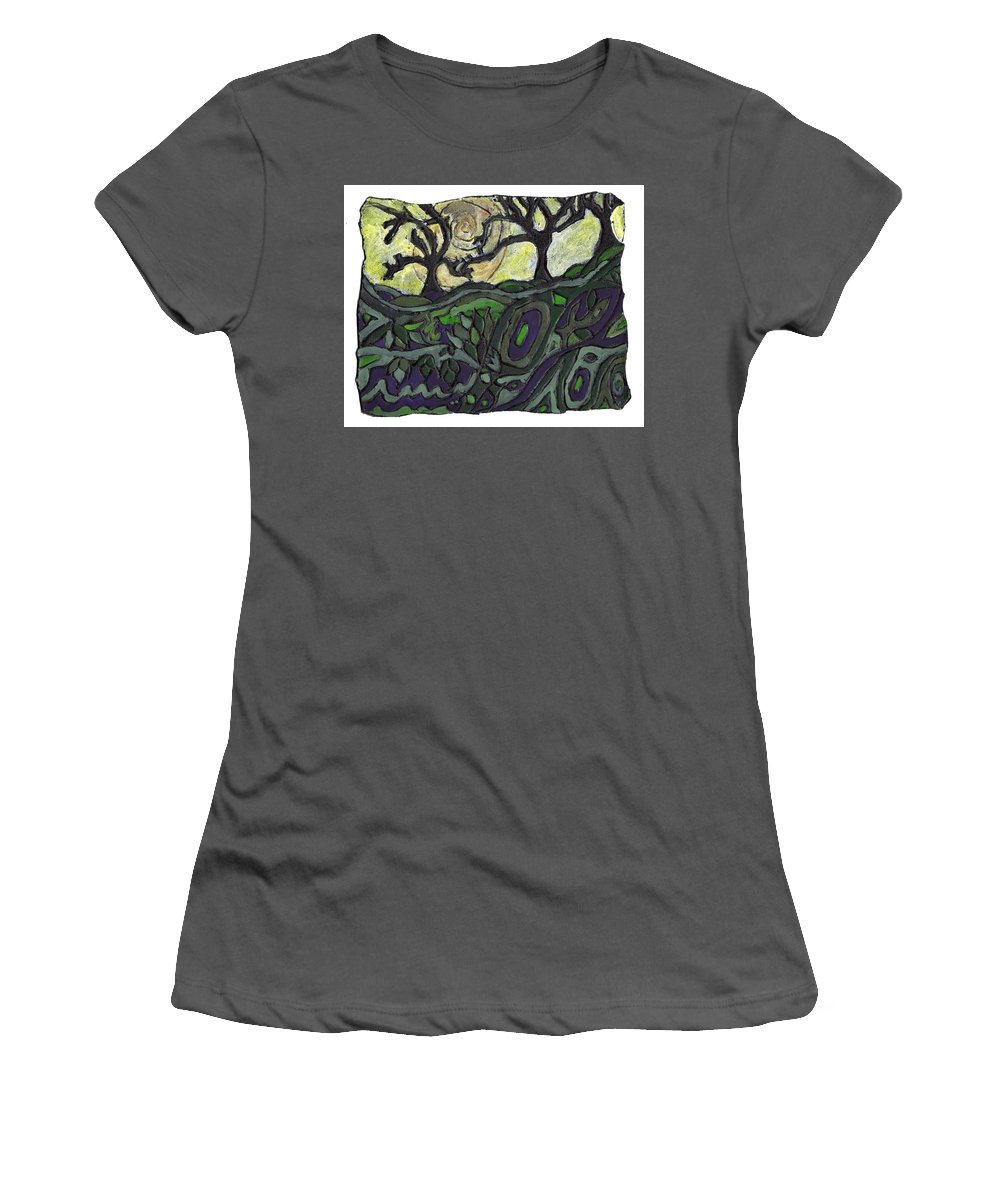Woods Women's T-Shirt (Athletic Fit) featuring the painting Alone In The Woods by Wayne Potrafka
