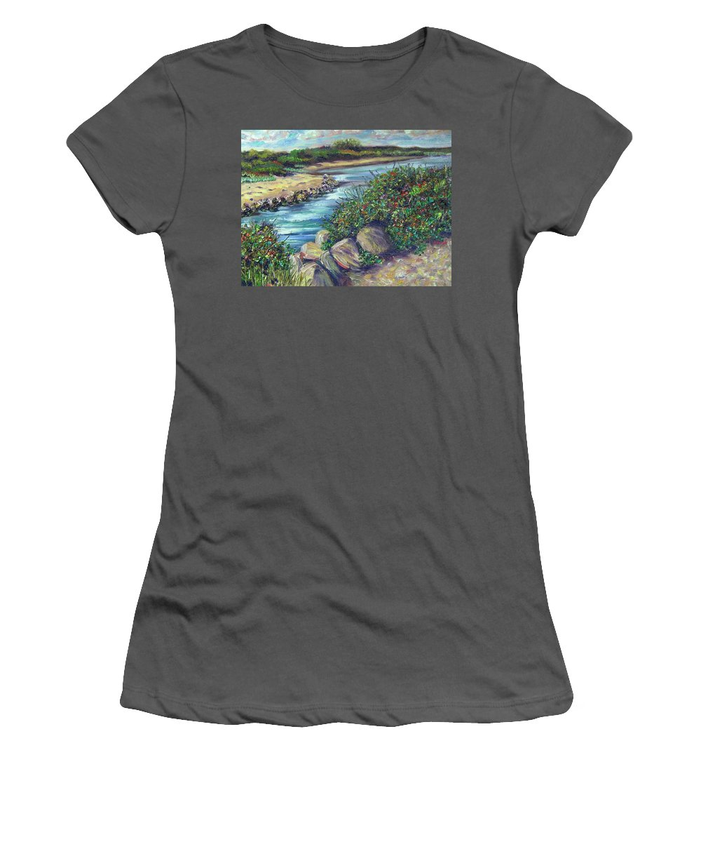 New England Women's T-Shirt (Athletic Fit) featuring the painting Along The Connecticut Shore by Richard Nowak