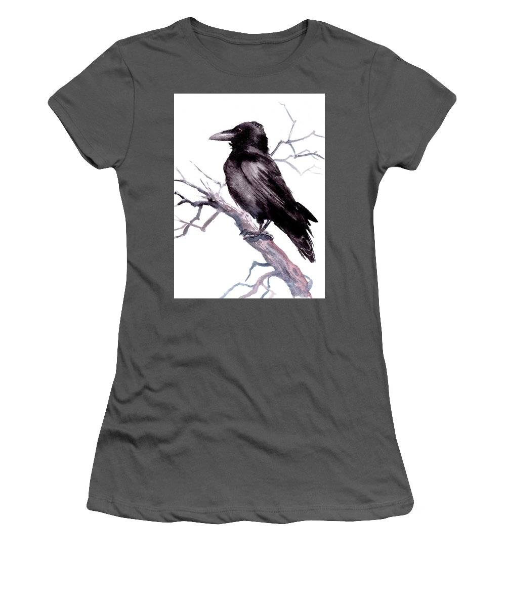 Crow Art Women's T-Shirt (Athletic Fit) featuring the painting American Crow by Suren Nersisyan