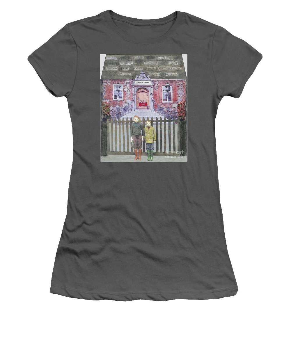 American Dream Women's T-Shirt (Athletic Fit) featuring the mixed media American Dreams by Desiree Paquette