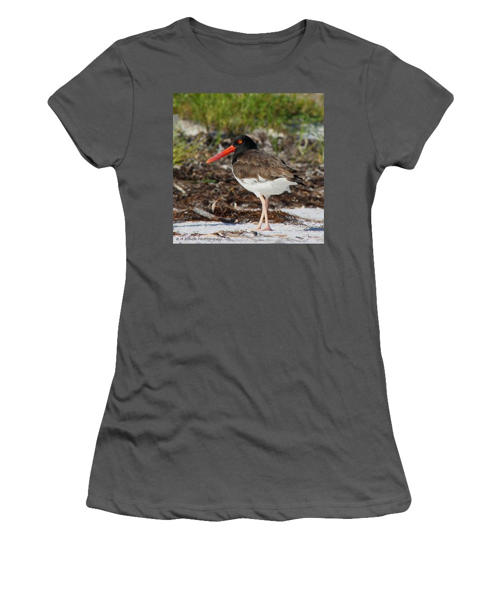 American Oyster Catcher Women's T-Shirt (Athletic Fit) featuring the photograph American Oyster Catcher by Barbara Bowen