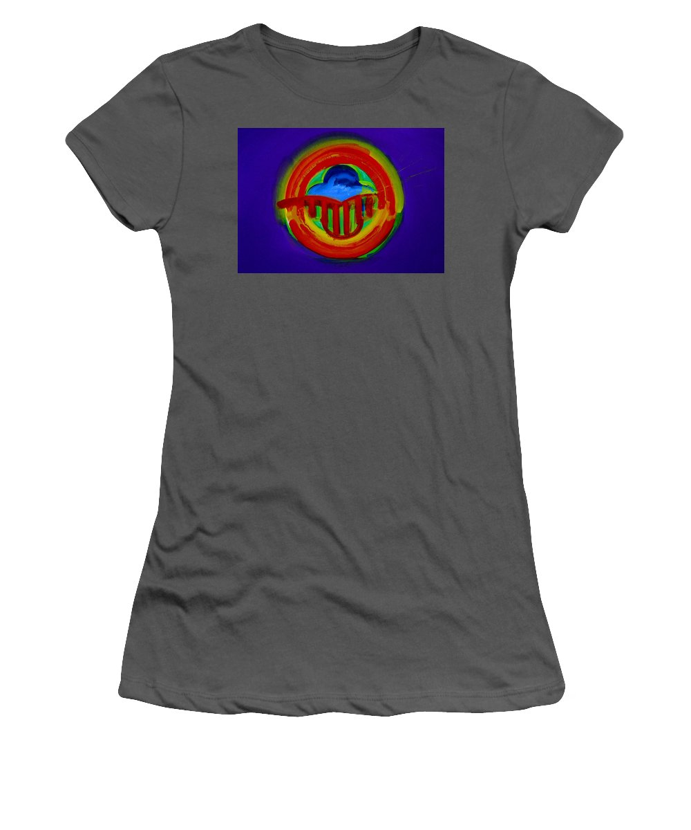 Button Women's T-Shirt (Athletic Fit) featuring the painting American Power Button by Charles Stuart