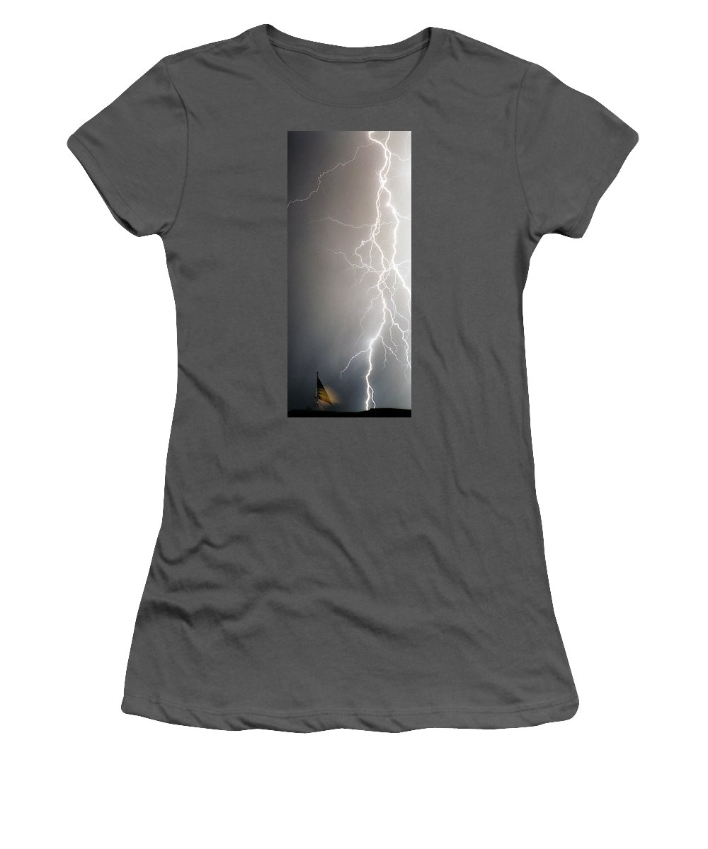 Usa Women's T-Shirt (Athletic Fit) featuring the photograph American Storm by James BO Insogna