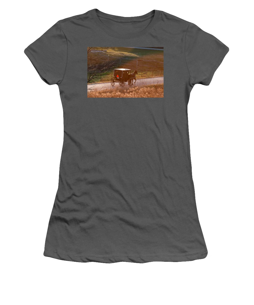 Amish Women's T-Shirt (Athletic Fit) featuring the photograph Amish Buggy Afternoon Sun by David Arment