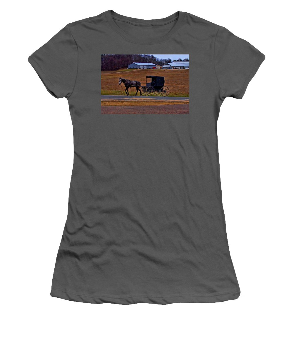Wisconsin Women's T-Shirt (Athletic Fit) featuring the photograph Amish Buggy by Tommy Anderson