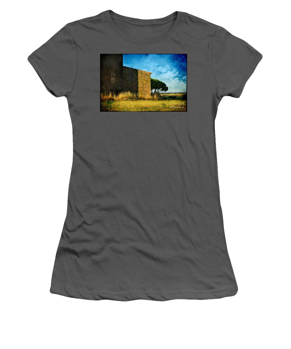 Ancient Women's T-Shirt (Athletic Fit) featuring the photograph Ancient Church - Italy by Silvia Ganora