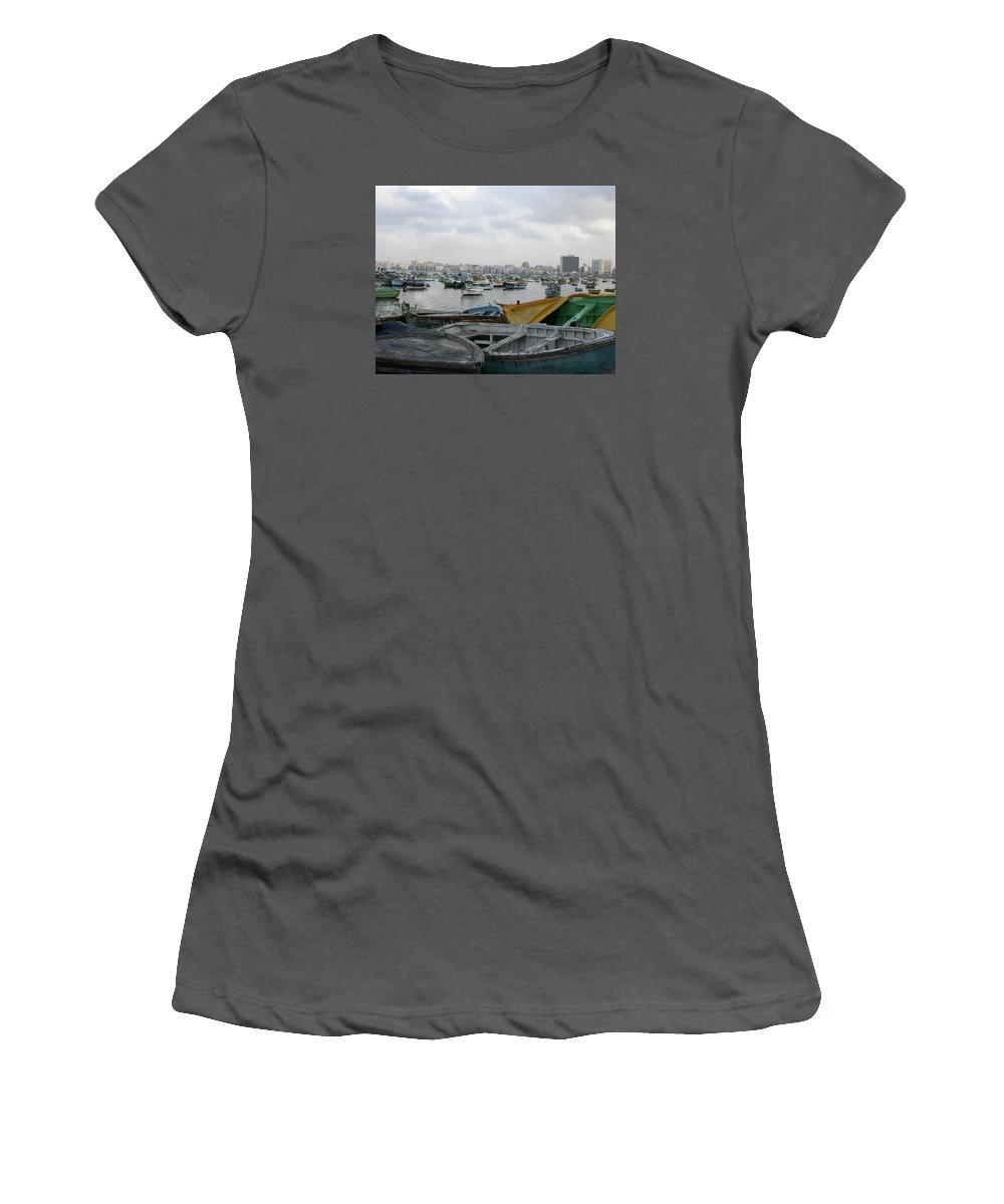 Fishing Harbor Women's T-Shirt (Athletic Fit) featuring the photograph Anfoshi by Mohamed Amin