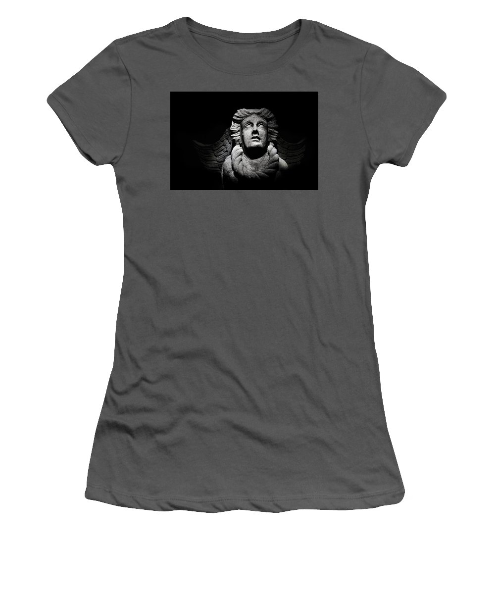Sintra Women's T-Shirt (Athletic Fit) featuring the photograph Angel On The Wall by Xavier Friesen