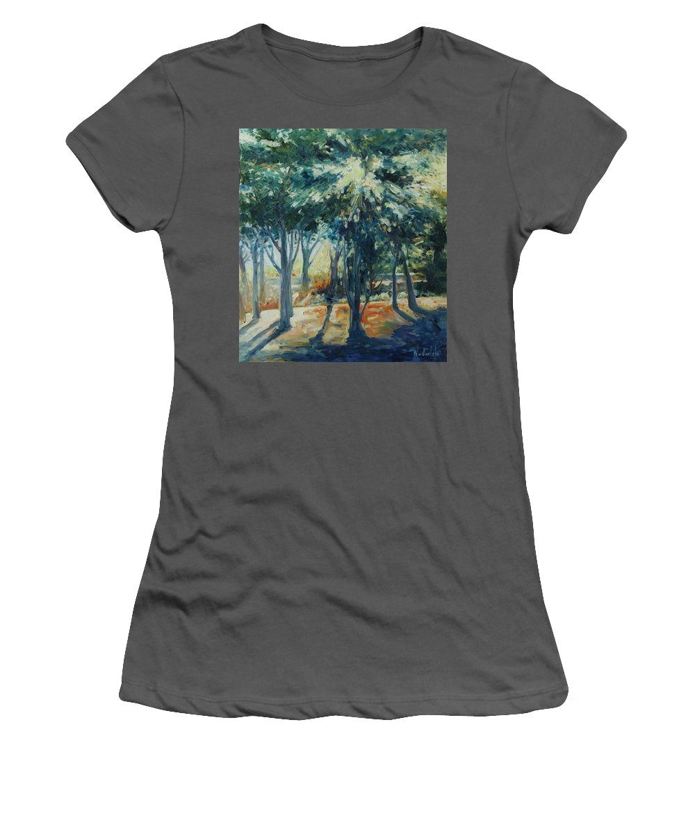 Trees Women's T-Shirt (Athletic Fit) featuring the painting Angel Rays by Rick Nederlof