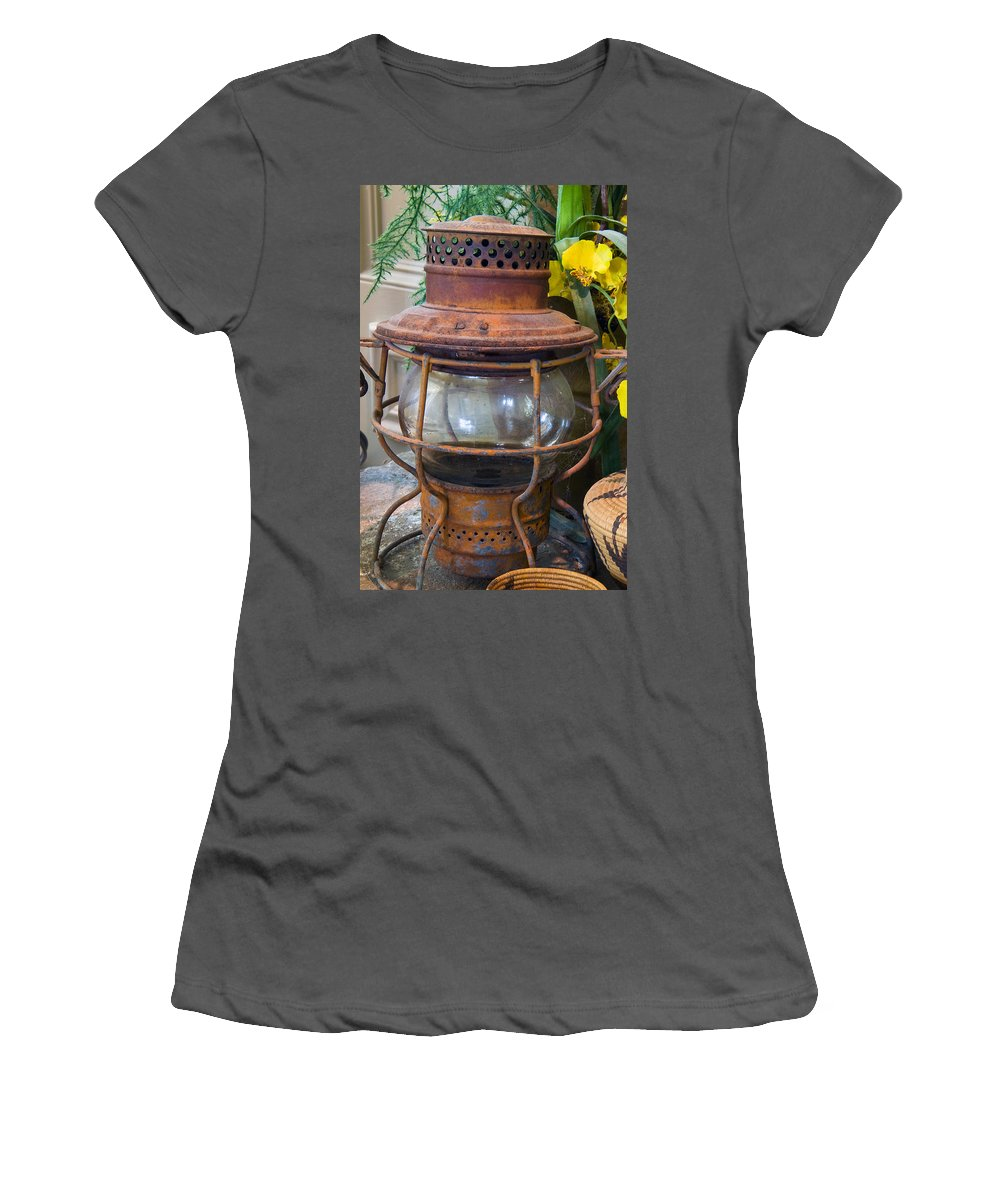 Lantern Women's T-Shirt (Athletic Fit) featuring the photograph Antique Lantern by Stephen Anderson