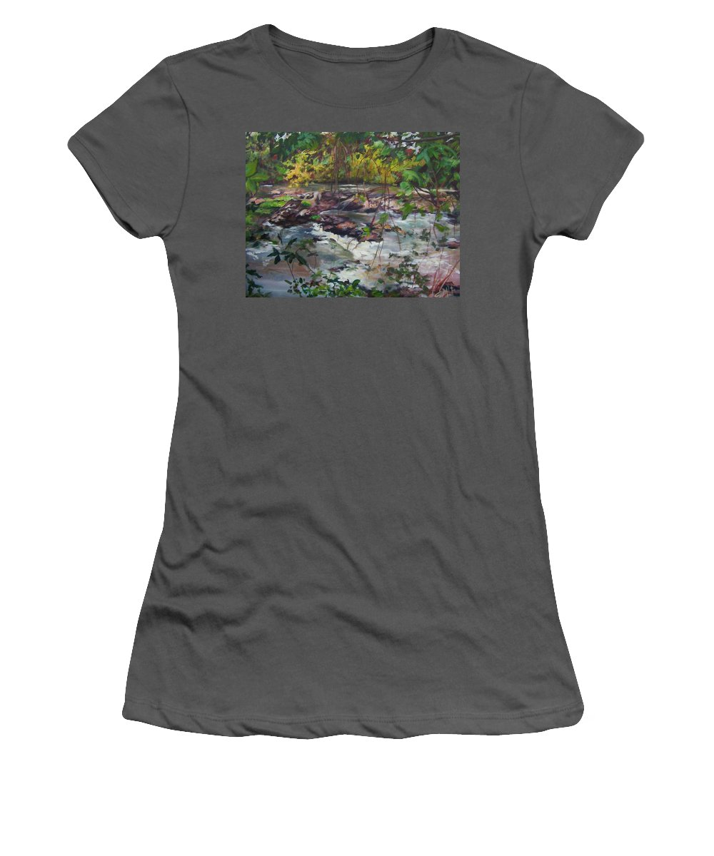 Landscape Women's T-Shirt (Athletic Fit) featuring the painting Appomattox View by Sheila Holland