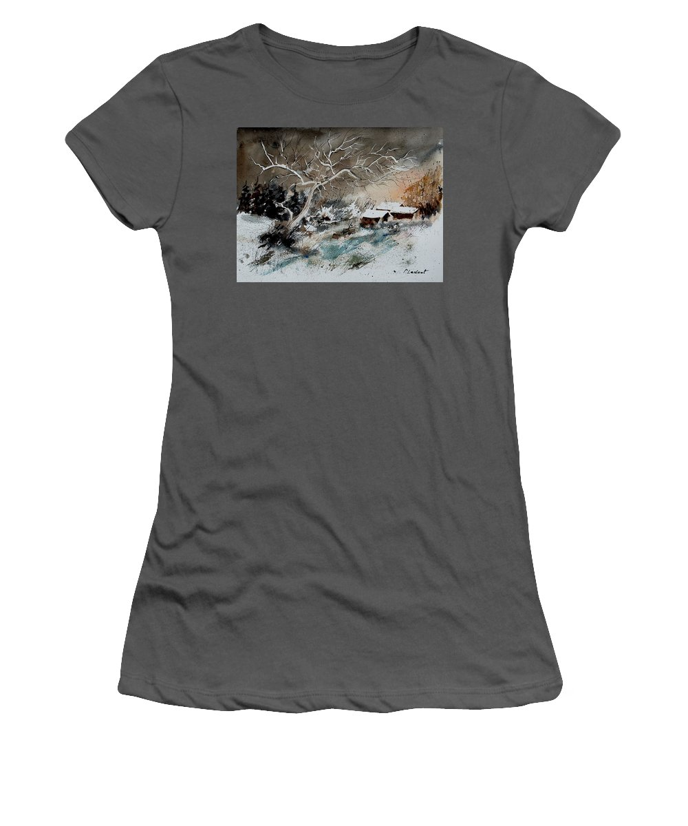Winter Women's T-Shirt (Athletic Fit) featuring the painting Aqua 290108 by Pol Ledent