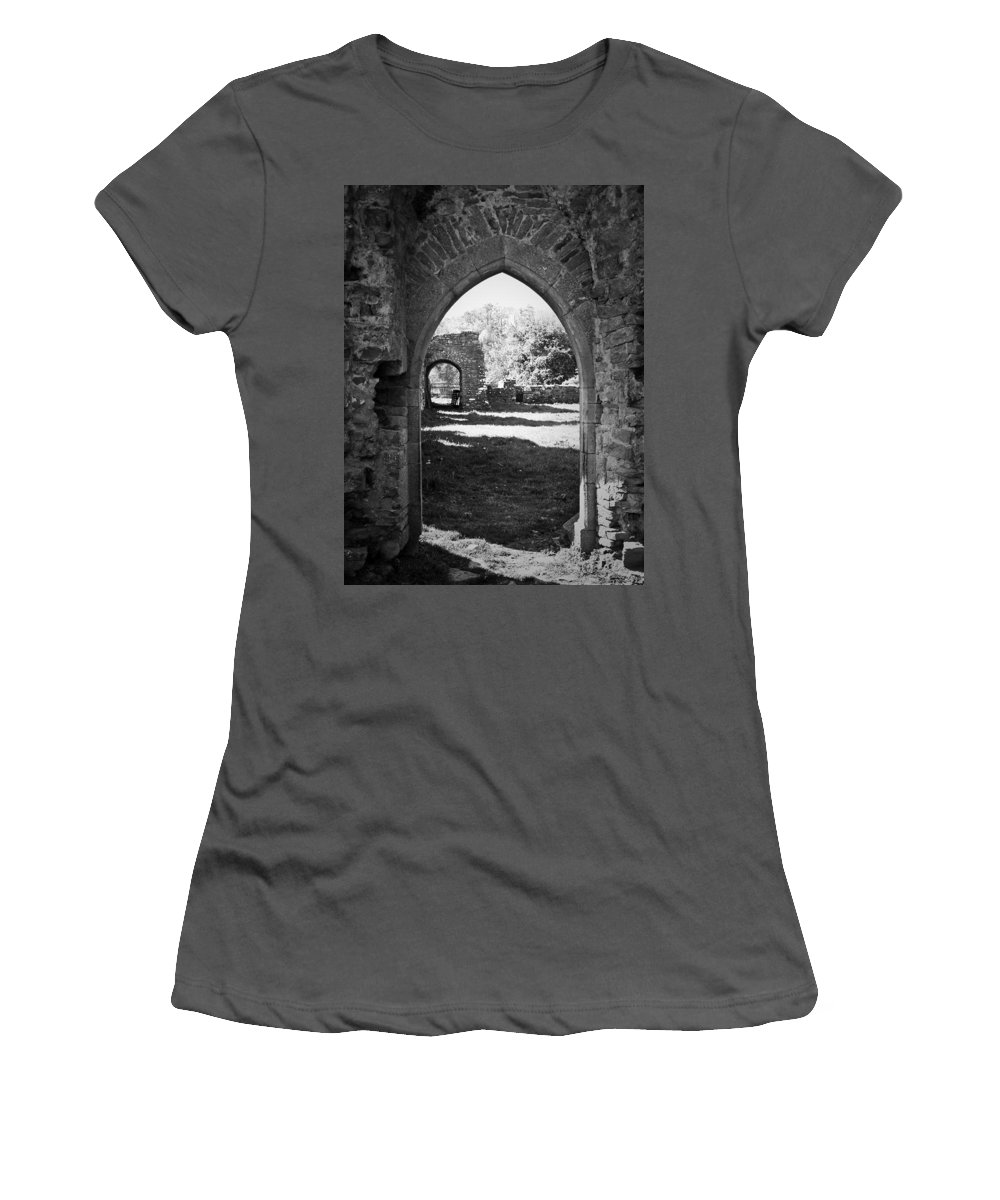 Irish Women's T-Shirt (Athletic Fit) featuring the photograph Arched Door At Ballybeg Priory In Buttevant Ireland by Teresa Mucha