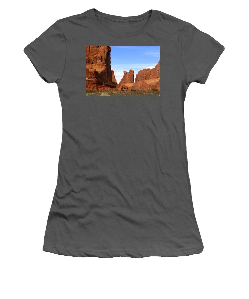 Arches National Park Women's T-Shirt (Athletic Fit) featuring the photograph Arches Park 2 by Marty Koch