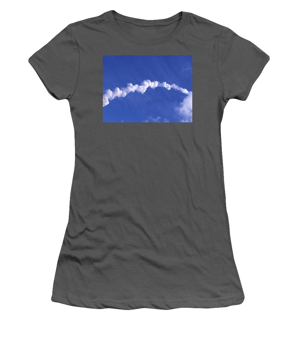 Rocket Women's T-Shirt (Athletic Fit) featuring the photograph Area1x Rocket Exhaust Trail by Allan Hughes