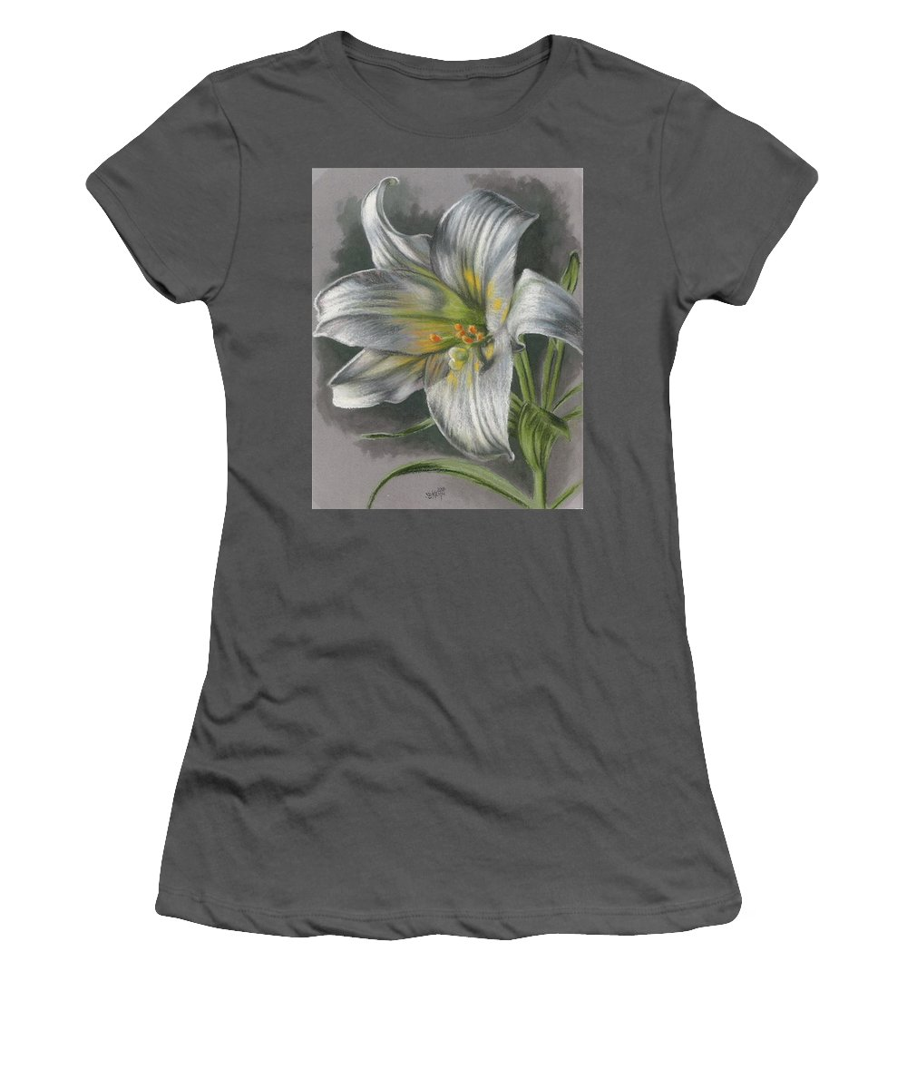 Easter Lily Women's T-Shirt (Athletic Fit) featuring the mixed media Arise by Barbara Keith