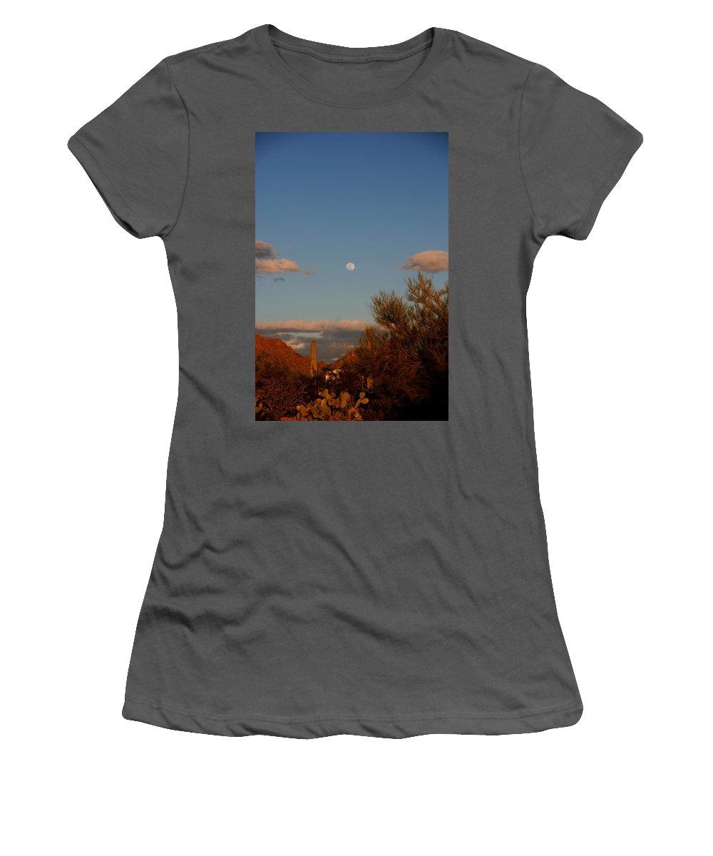 Arizona Women's T-Shirt (Athletic Fit) featuring the photograph Arizona Moon II by Susanne Van Hulst