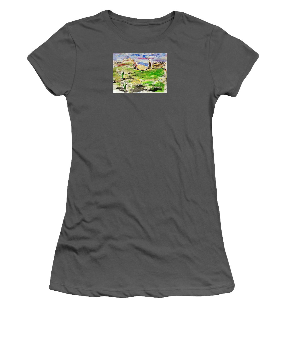 Impressionist Painting Women's T-Shirt (Athletic Fit) featuring the painting Arizona Skies by J R Seymour