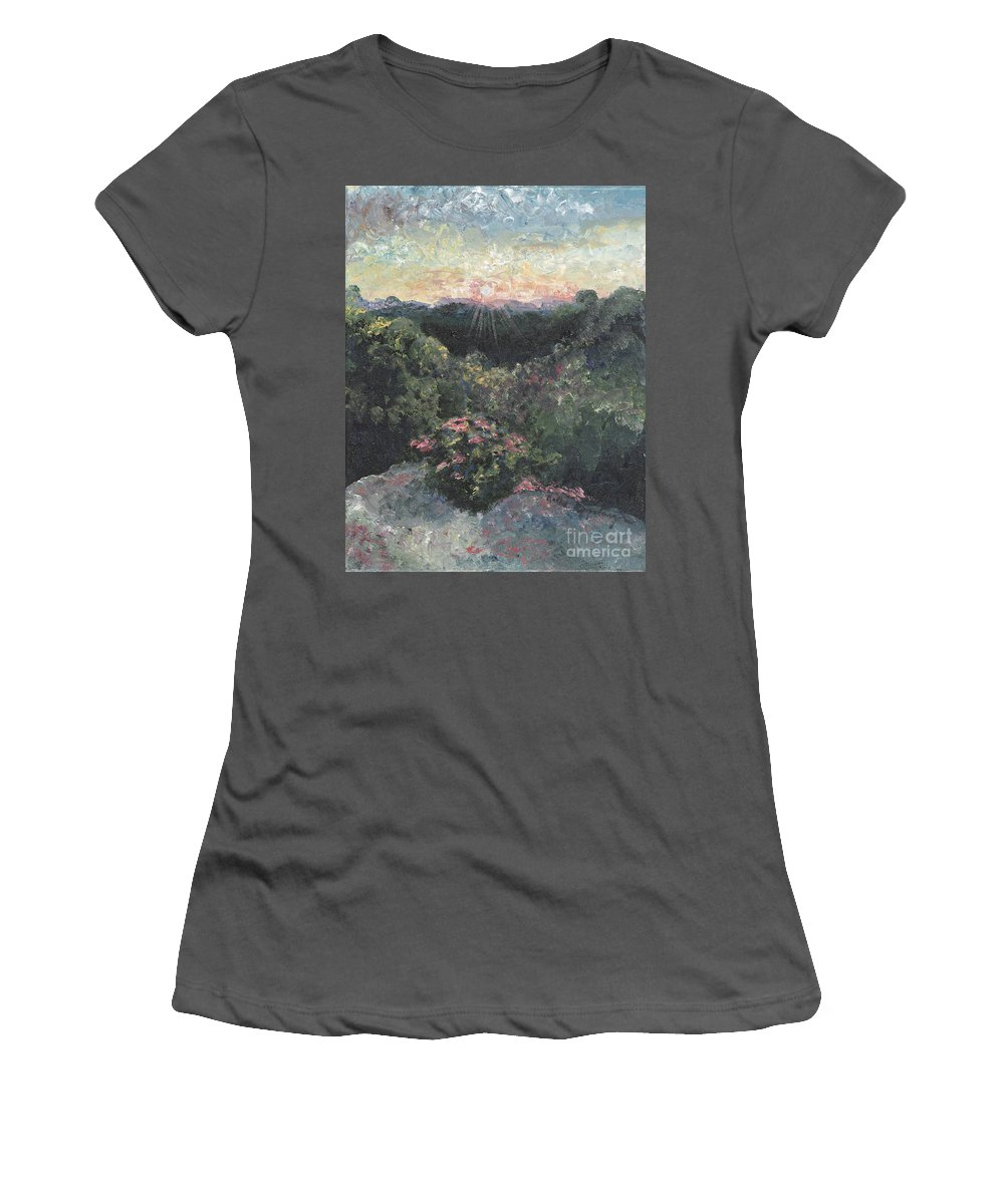 Landscape Women's T-Shirt (Athletic Fit) featuring the painting Arkansas Mountain Sunset by Nadine Rippelmeyer