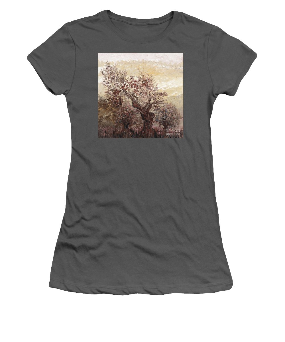 Landscape Women's T-Shirt (Athletic Fit) featuring the painting Asian Mist by Nadine Rippelmeyer