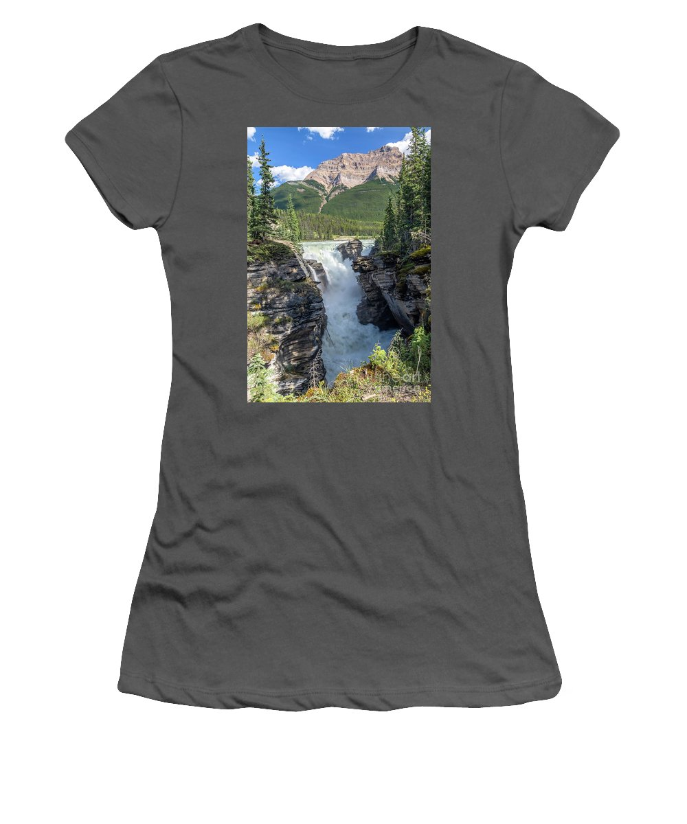 Alberta Women's T-Shirt (Athletic Fit) featuring the photograph Athabaska Falls, Mt. Hardisty by Daryl L Hunter