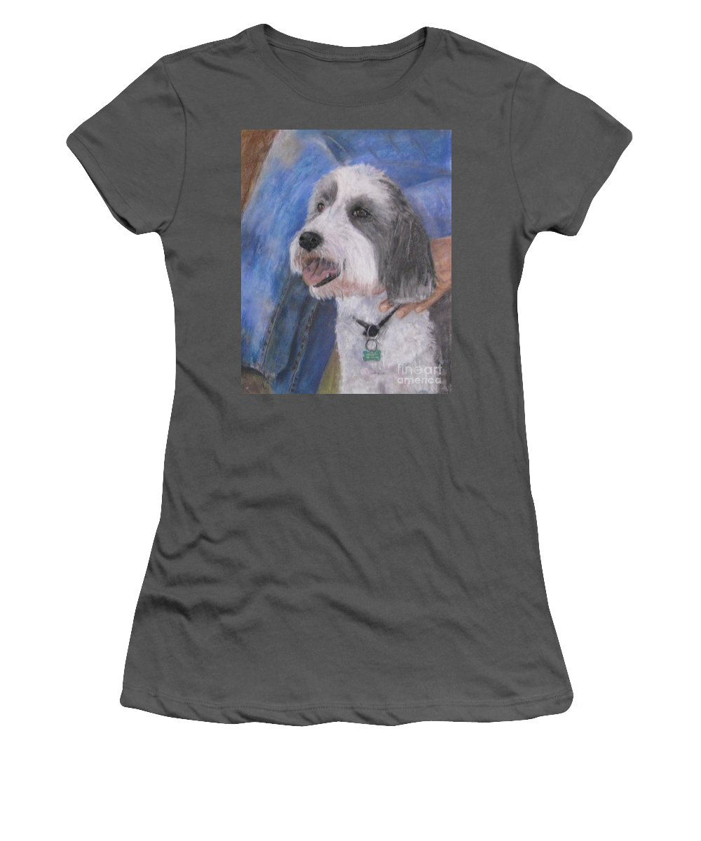 Dogs Women's T-Shirt (Athletic Fit) featuring the painting Augie by Elizabeth Ellis