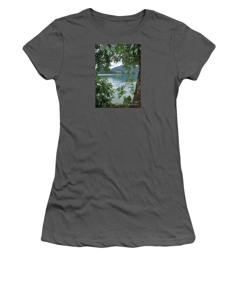 Austria Women's T-Shirt (Athletic Fit) featuring the photograph Austrian Lake Through The Trees by Carol Groenen
