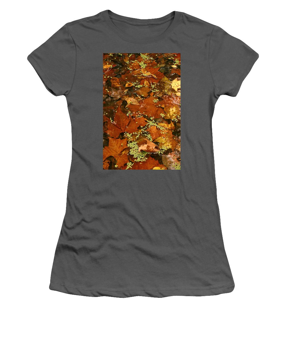 Autumn Fall Leaves Leaf Orange Green Water Maple Photograph Photography Women's T-Shirt (Athletic Fit) featuring the photograph Autumn Abstract by Shari Jardina
