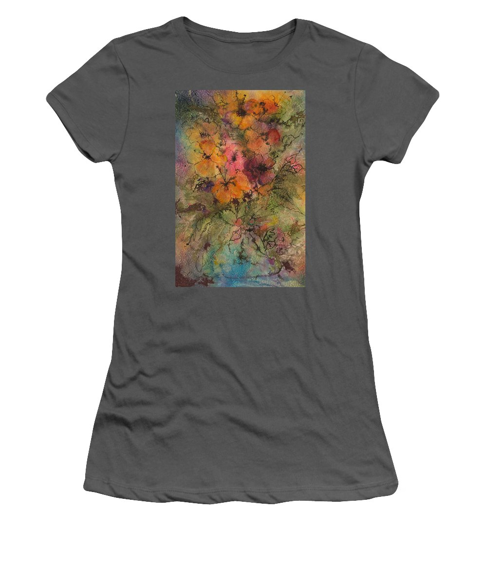 Floral Women's T-Shirt (Athletic Fit) featuring the painting Autumn Blooms by Barbara Colangelo