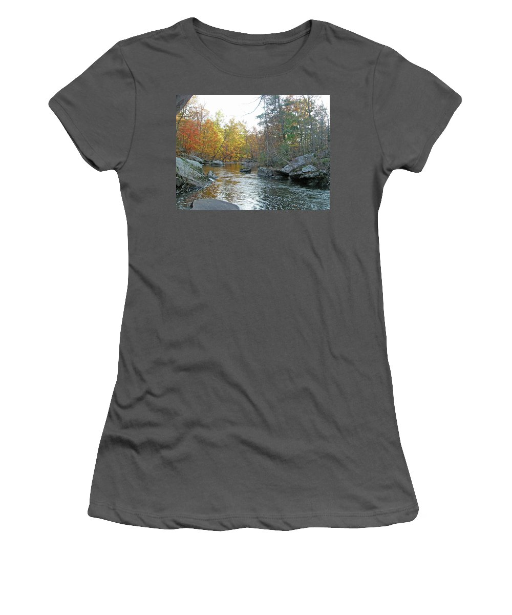 Creek Women's T-Shirt (Athletic Fit) featuring the photograph Autumn Flows Toward Winter by Mother Nature