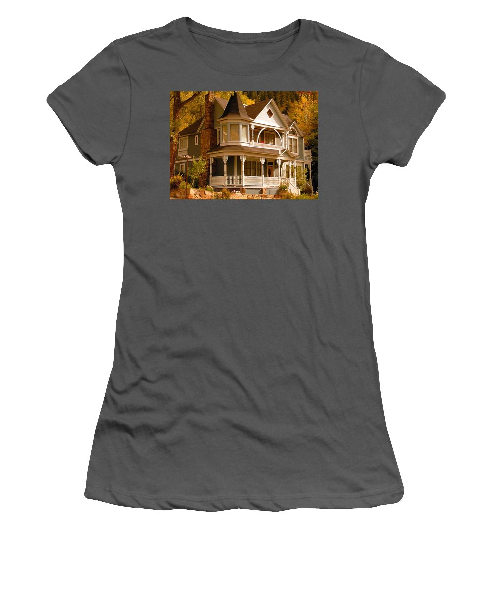 Autumn Women's T-Shirt (Athletic Fit) featuring the painting Autumn House by David Lee Thompson