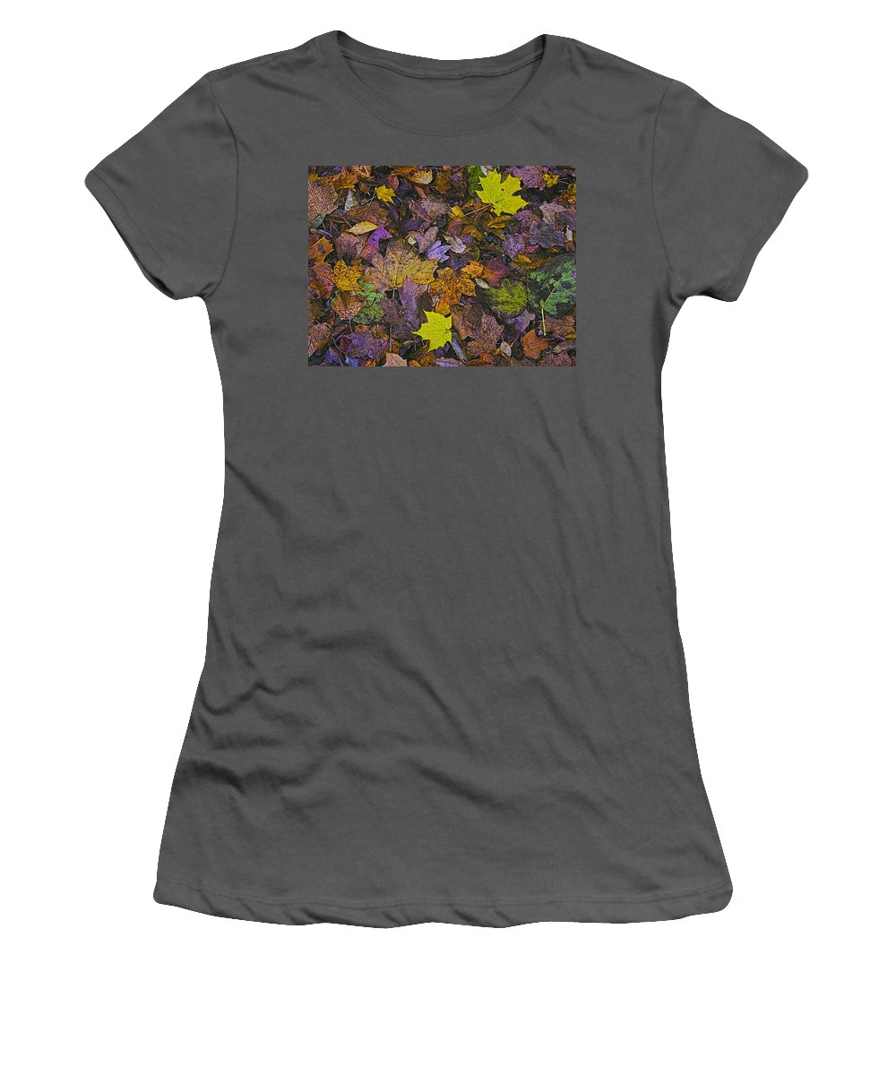 Autumn Women's T-Shirt (Athletic Fit) featuring the photograph Autumn Leaves At Side Of Road by John Hansen