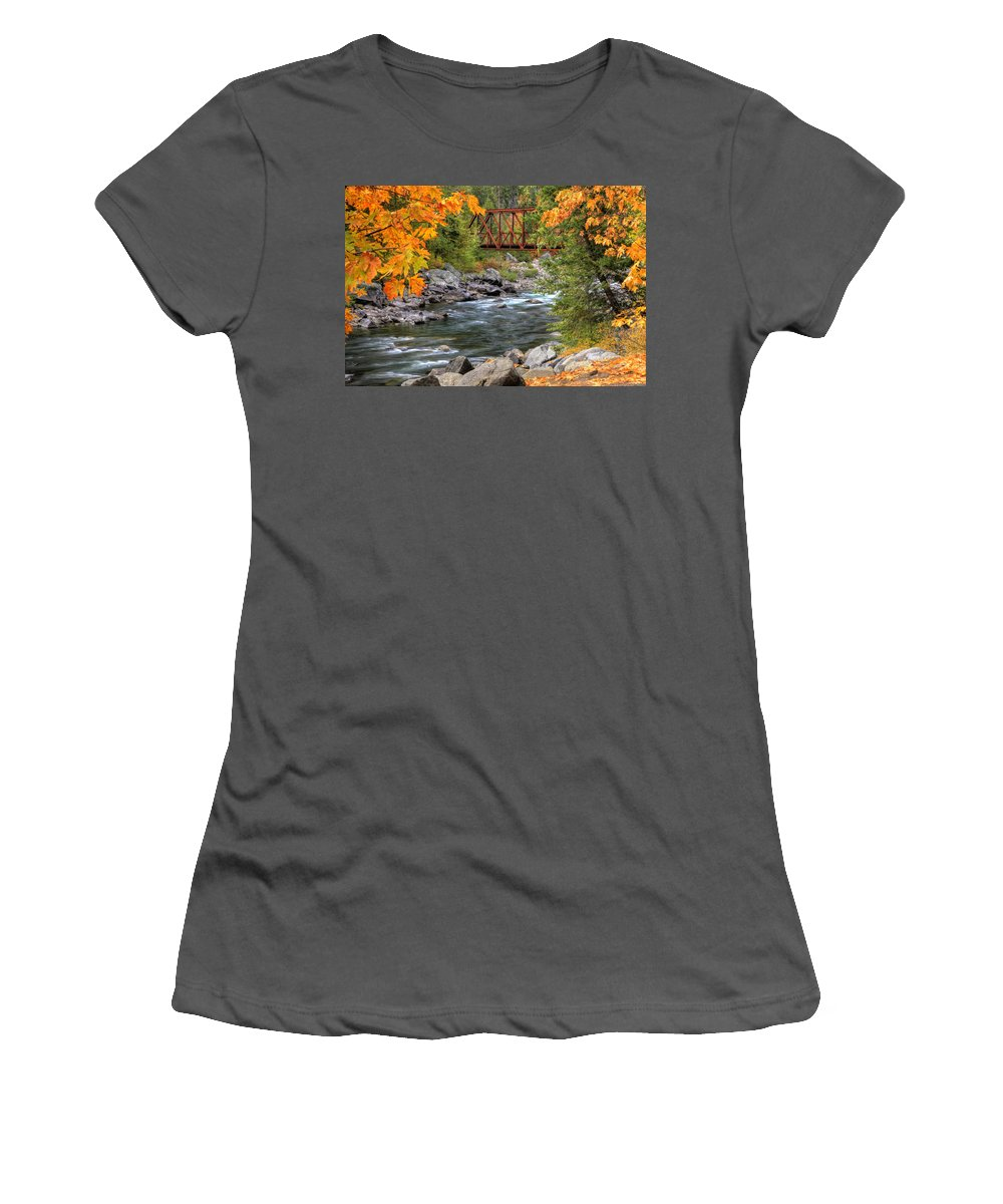 Autumn Women's T-Shirt (Athletic Fit) featuring the photograph Autumn Leaves Keep Falling by Eggers Photography