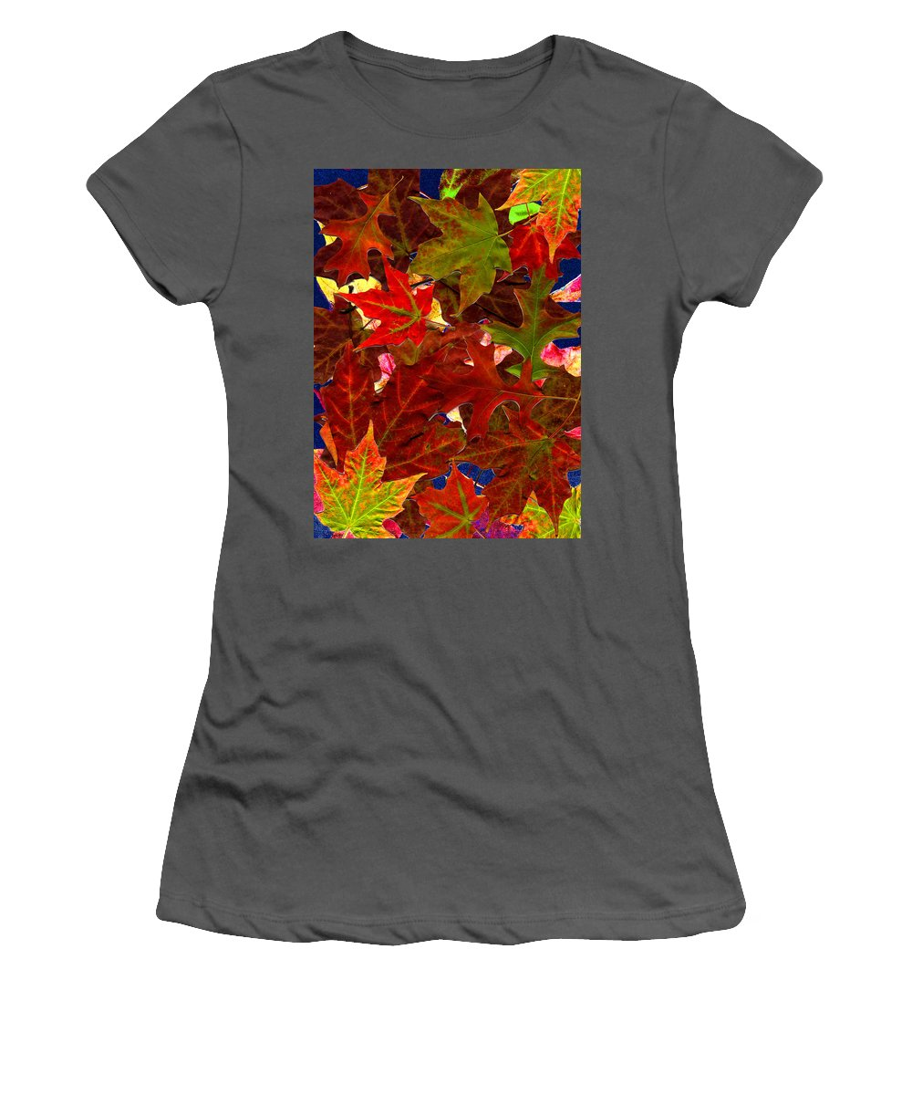 Collage Women's T-Shirt (Athletic Fit) featuring the photograph Autumn Leaves by Nancy Mueller