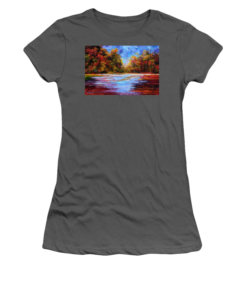 Fall Women's T-Shirt (Athletic Fit) featuring the painting Autumn Morning by Debra Hurd