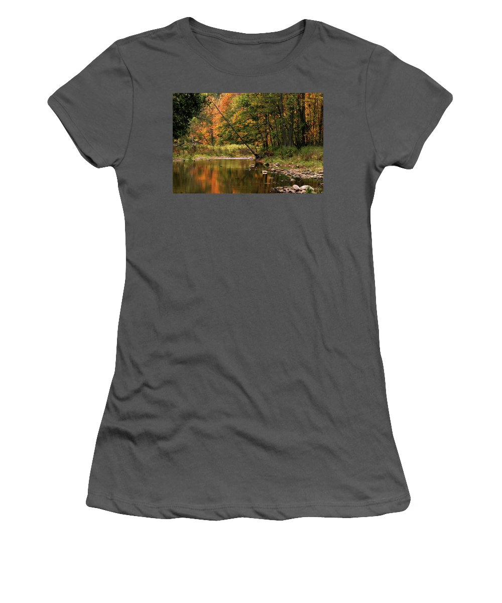 Tree Women's T-Shirt (Athletic Fit) featuring the photograph Autumn Reflections by Phill Doherty