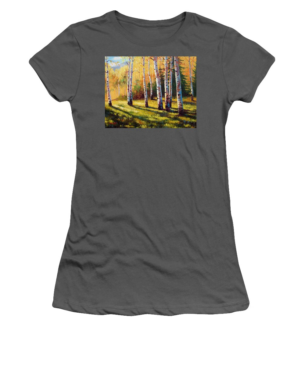 Landscape Women's T-Shirt (Athletic Fit) featuring the painting Autumn Shade by David G Paul