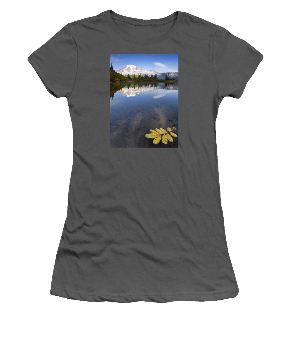 Rainier Women's T-Shirt (Athletic Fit) featuring the photograph Autumn Suspended by Mike Dawson