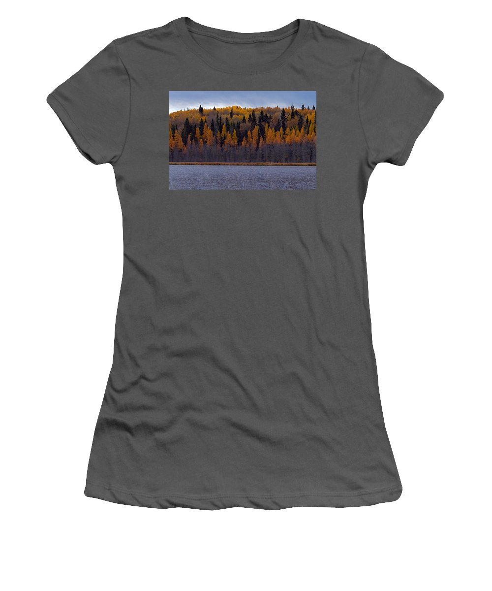 Prince Albert National Park Women's T-Shirt (Athletic Fit) featuring the photograph Autumn Tiers by Larry Ricker