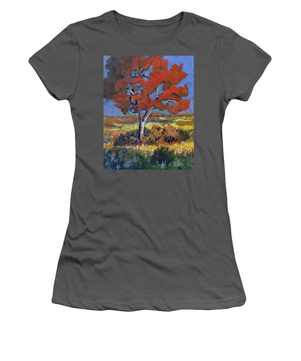 Autumn Women's T-Shirt (Athletic Fit) featuring the painting Autumn Tree by Heather Coen