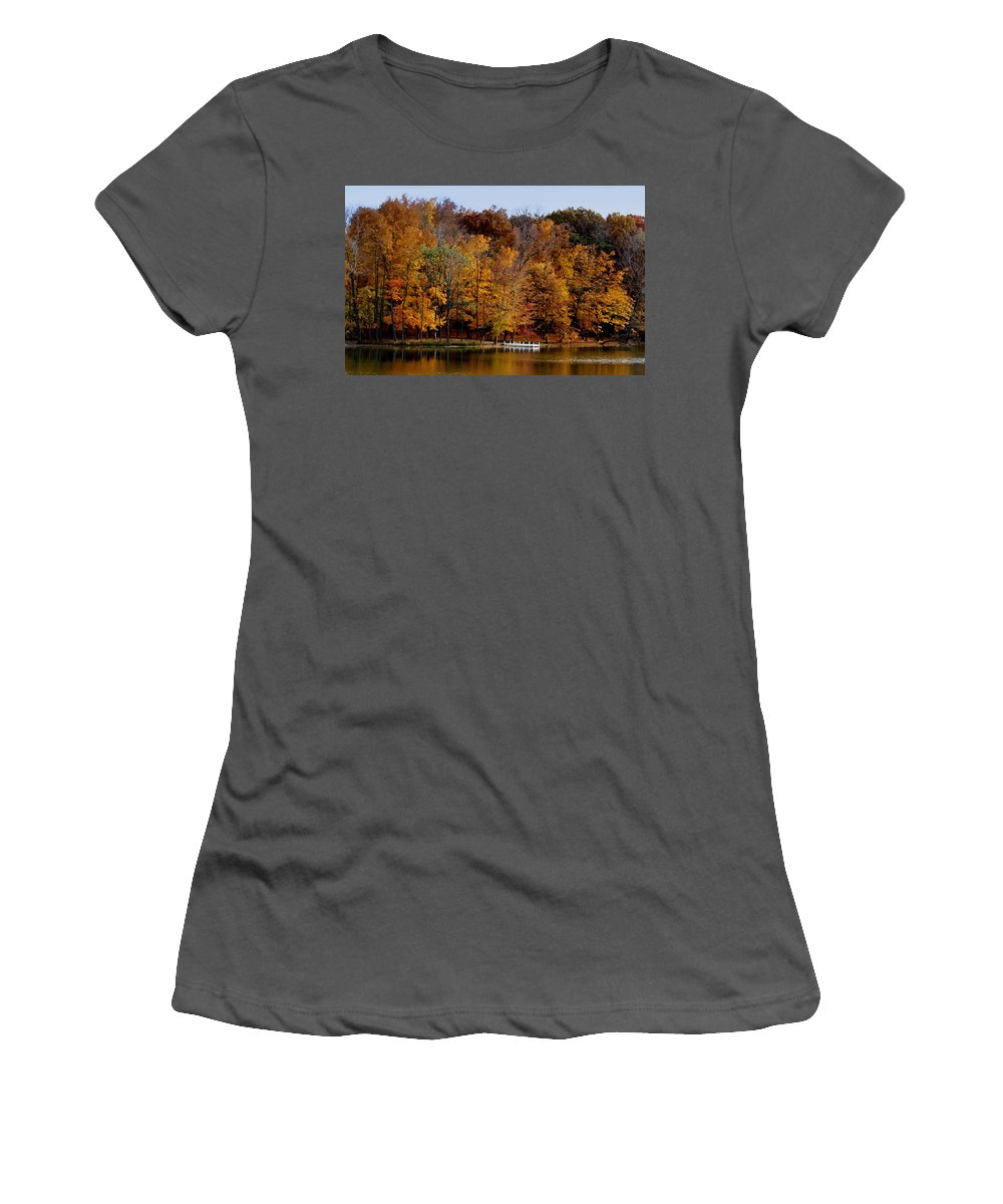 Autumn Trees Women's T-Shirt (Athletic Fit) featuring the photograph Autumn Trees by Sandy Keeton