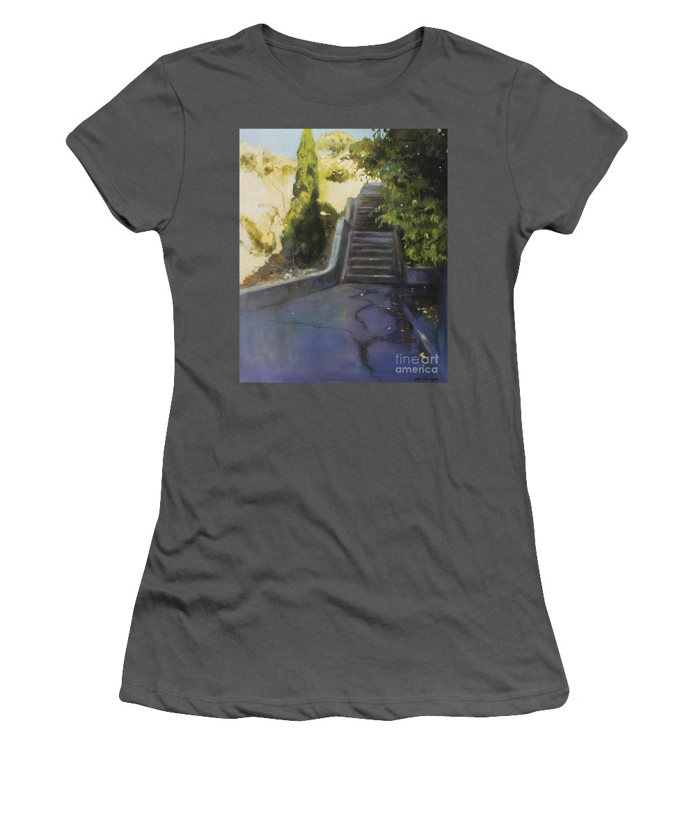 Lin Petershagen Women's T-Shirt (Athletic Fit) featuring the painting Avenue Gravier - The Shortcut by Lin Petershagen