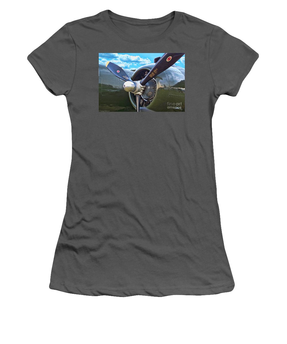 North American B-25 Mitchell Women's T-Shirt (Athletic Fit) featuring the photograph B-25 Engine by Tommy Anderson