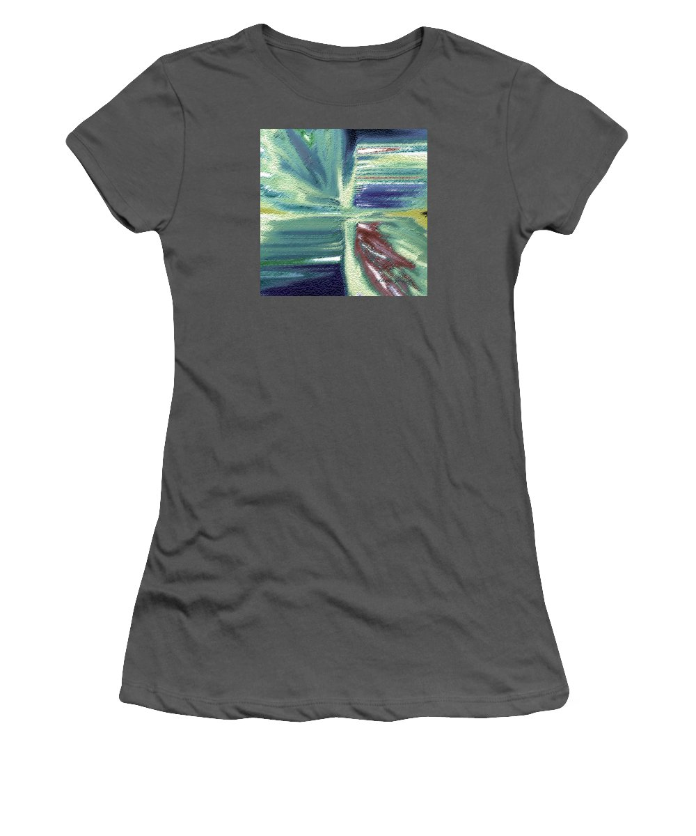 Abstract Women's T-Shirt (Athletic Fit) featuring the mixed media Back To Square One by Lenore Senior