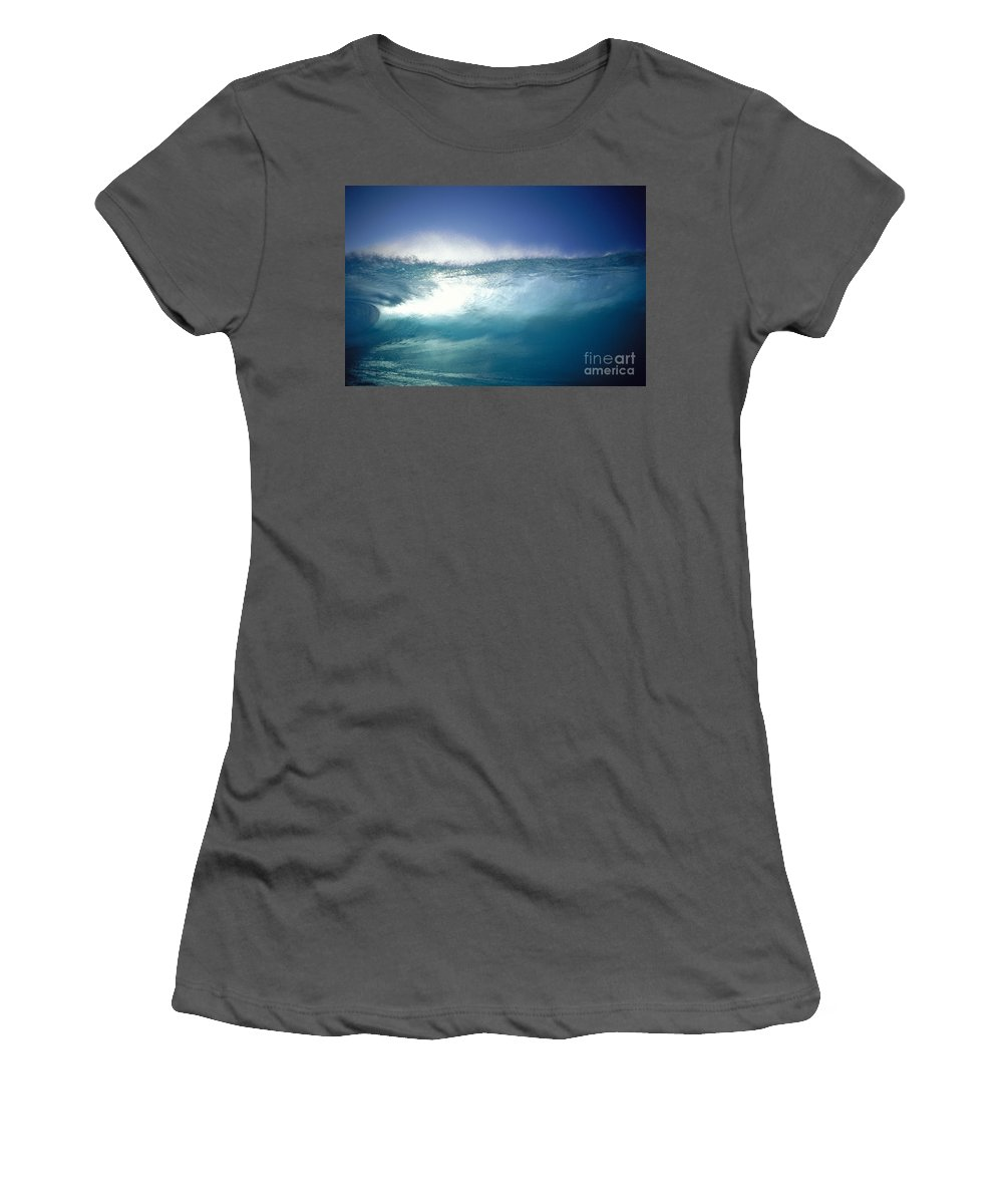 Action Women's T-Shirt (Athletic Fit) featuring the photograph Backlit Wave by Vince Cavataio - Printscapes