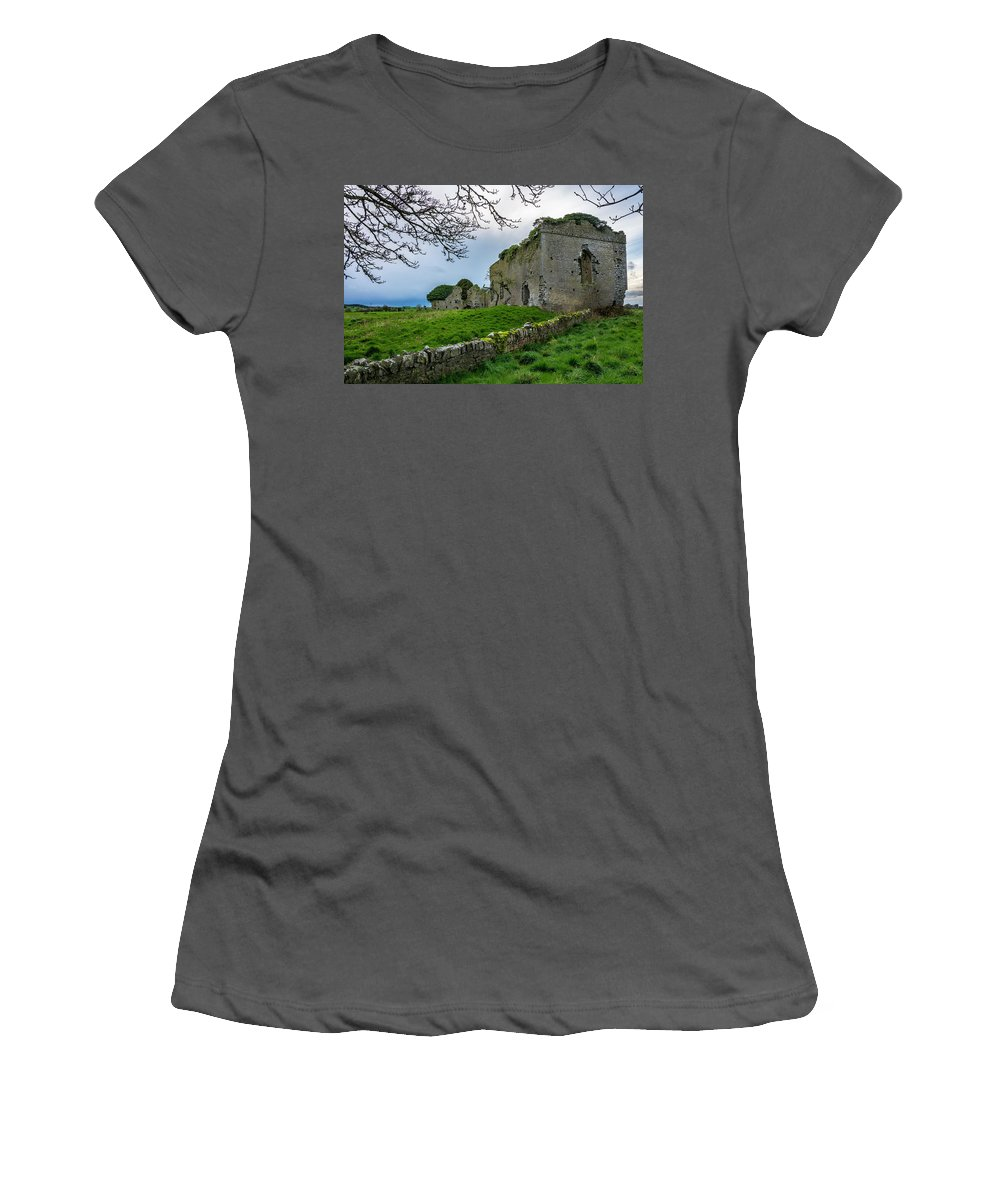 Ballyboggan Women's T-Shirt (Athletic Fit) featuring the photograph Ballyboggan Abbey, Co. Meath by Philip Mulhall