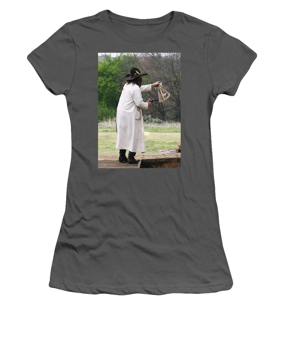 Outlaw Women's T-Shirt (Athletic Fit) featuring the photograph Bank Robbery by Cindy New