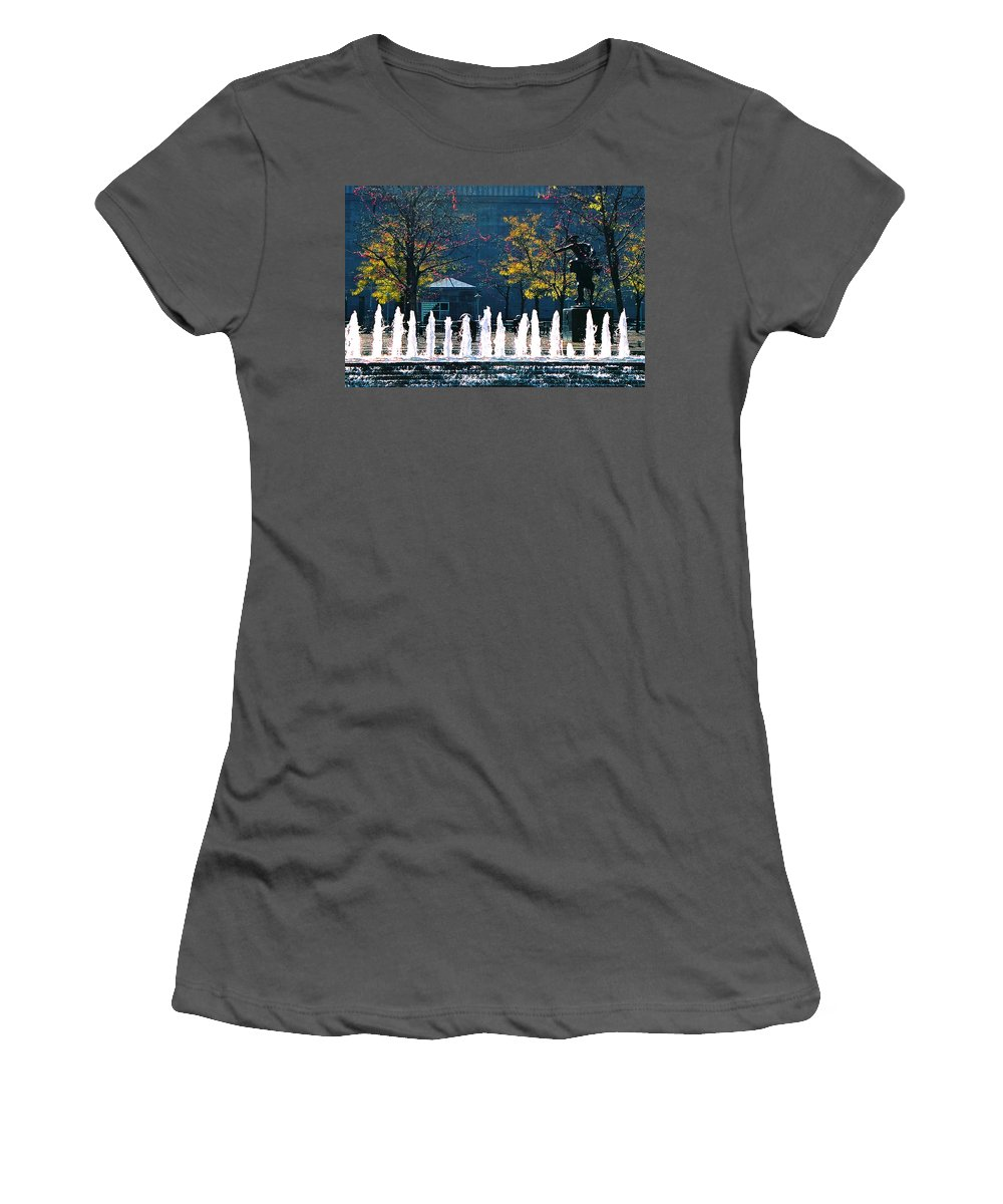 Landscape Women's T-Shirt (Athletic Fit) featuring the photograph Barney Allis Plaza-kansas City by Steve Karol